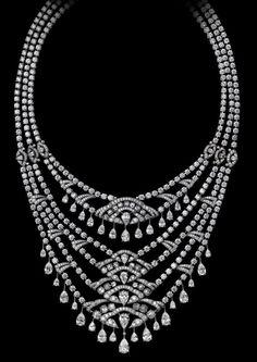 Indian Influences – High Jewelry Necklace Platinum, pear-shaped diamonds, rose-cut diamonds, brilliants