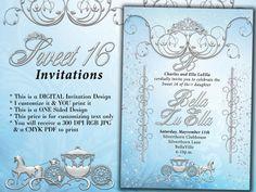 Birthday Party Invitations Quinceanera Invitation by BellaLuElla