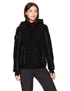 Blanc Noir Women's Two Face Down Coat With Hood Black/Charcoal Heather S