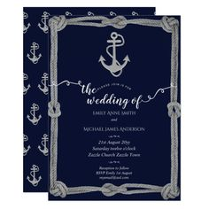 Nautical Navy Blue Silver Wedding Invites Anchor Customize these #navyblue #weddinginvitations Make your day special with these custom navy #wedding #invitations #cards and #stationary sets