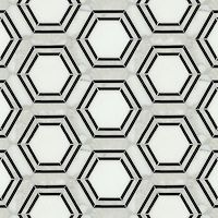 Pembroke, a natural stone waterjet mosaic shown in Calacatta Tia, Thassos and Nero Marquina honed, is part of the Silk Road Collection by Sara Baldwin for New Ravenna Mosaics. Marble Mosaic, Stone Mosaic, Mosaic Tiles, Stone Tiles, Tiling, Marble Foyer, 3d Tiles, Hex Tile, Subway Tile