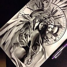 Finished up this angel time piece for a half sleeve I'll be working on, going to add the inner bicep on another sheet of paper. Chicano Tattoos, Chicano Art, Body Art Tattoos, Sleeve Tattoos, Tattoo Sketches, Tattoo Drawings, Tattoo Studio, Dibujos Tattoo, Tattoo Motive
