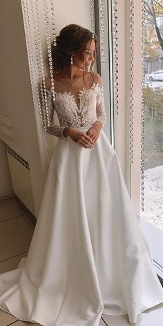 bridal gowns with sleeves a line with illusion neckline lace kuznetcova brand ⠀ Fall wedding dresses Cheap Wedding Guest Dresses, White Bridal Dresses, Dresses Elegant, Affordable Dresses, Wedding Dress Trends, Fall Wedding Dresses, Wedding Dress Sleeves, Colored Wedding Dresses, Bridal Gowns