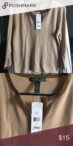 Shirt Long sleeve shirt. Tan with a brown trim along the neck line Ralph Lauren Tops Tees - Long Sleeve