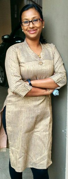Jute silk kurti with shawl collar