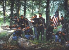 Little Round Top by John Paul Strain showing Joshua Chamberlain and the MAINE at Gettysburg Military Art, Military History, Military Service, American Civil War, American History, Gettysburg Battlefield, Civil War Art, Union Army, Western Union