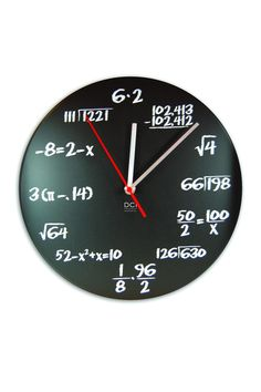 Clock features a math problem to solve in place of traditional clock numbers - love how the background is a chalkboard