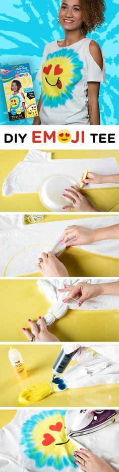 Make your own tie dye emoji tee using this emoji Tulip One-Step Tie Dye kit.  All the supplies are included to make your own cool tee to make your favorite emoji!
