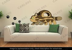 Luv would squee if I put this in her room... | Totoro Inspired Little Cat bus / Soot Sprites Wall Art