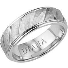 Diana 7mm comfort fit wedding band with hammer finish. Available in 5mm.