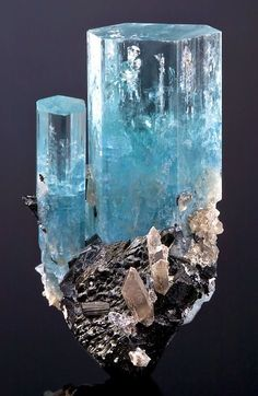 "eyesaremosaics: ""Beryl var. Aquamarine with Quartz on Schorl. From the Erongo Mountain, Erongo Region, Namibia. Measures 4.4 cm by 2.5 cm by 2.3 cm in total size. """