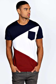 Shop Spliced Colour Block T Shirt - pick assorted colors (Men's)