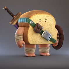 Bread Warrior, Zhang Chi on ArtStation at https://www.artstation.com/artwork/bdg4g