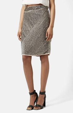Topshop Antique Sequin Pencil Skirt available at #Nordstrom
