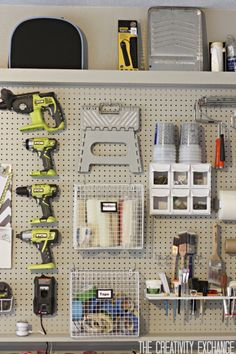 DIY Garage Pegboard Storage Wall {The Creativity Exchange}