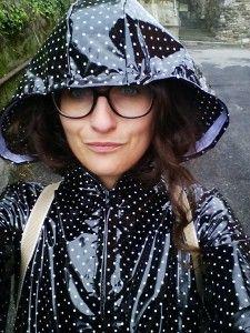 black dotted shiny pvc raincoat