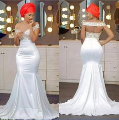 Off The Shoulder Mermaid Prom Dresses Beaded Backless Satin Backless Aso Ebi African Prom Dresses Sweep Train Evening Dresses Diyanu - Aso Ebi Styles African Prom Dresses, African Wedding Dress, Prom Dresses For Sale, African Fashion Dresses, African Dress, African Attire, African Wear, African Outfits, Ghanaian Fashion
