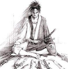 Dessin samouraï homme méchant