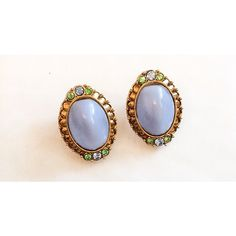 Robins Egg Blue Earrings, Amber Rhinestone, Vintage Jewelry, Art Deco... (85 ILS) ❤ liked on Polyvore featuring jewelry and earrings