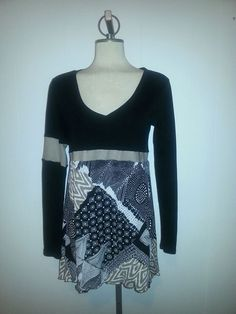 Upcycle clothing upcycled re cycled re purposed medium large ladies tunic dress artsy Romantic restyled OOAK Eco fashion By Upcycled Swag by UpcycledSwag on Etsy