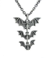 Dysfunctional Doll 3 Hanging Vampire Bats Necklace : Pendants & Necklaces