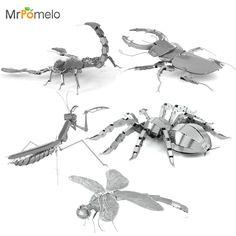 MrPomelo 3D Kim Loại Mô Hình Động Vật Côn Trùng Mantis Scorpion Stag Bọ Cánh Cứng Tarantula Con Chuồn Chuồn Kim Loại Người Lớn Câu Đố Mô Hình Giáo Dục Đồ Chơi