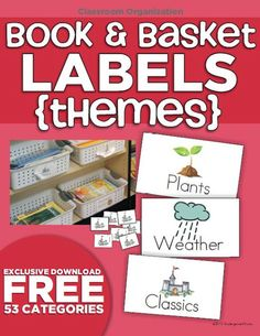 50 Themed book labels for organizing classroom library. A GREAT idea.