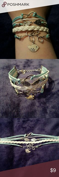 Light Blue & White Bird and Owls Bracelet CHECK OUT MY CLOSET FOR MORE ITEMS!   New  Antique Silver Jewelry Bracelets