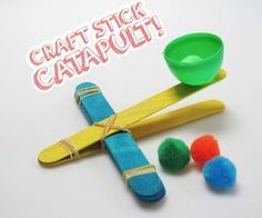 The craft stick castle isn& going to invade itself! With a quick craft stick catapult, you& be launching pom-poms over pipe cleaner parapets in no time. Quick Crafts, Crafts For Boys, Toddler Crafts, Fun Crafts, Family Crafts, Summer Crafts, Popsicle Stick Crafts, Popsicle Sticks, Craft Stick Crafts