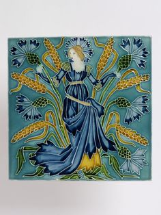 These tiles were designed by the Victorian artist and illustrator, Walter Crane. While similar in style to Crane's book illustration, the designs also show the influence of Art Nouveau. The outlines of the patterns have been pressed in relief, in imitation of the more labour-intensive technique of tube-lining.