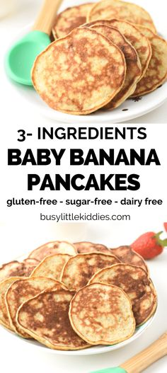 These 3-ingredients baby banana pancakes are perfect for baby led weaning or to introduce eggs and bananas to baby ready to eat solids. Bonus, these baby pancakes are also gluten-free, grain-free and nut-free. Banana Gluten Free Pancakes, Banana Pancake Recipes, Banana Recipes For Baby, Banana Pancakes For Baby, Dairy Free Pancakes, Vegan Breakfast Recipes, Baby Led Weaning Breakfast, Baby Breakfast, Egg Free Recipes