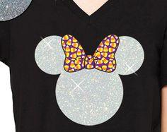 GLITTER Disney Halloween Minnie Candy Corn V Neck - Disneyland Shirt // Disney Cinderella Castle Disney (white glitter / candy corn bow)