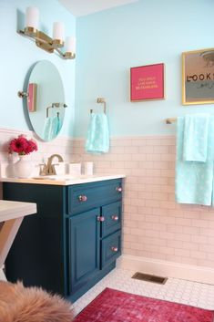 painted the cabinet Ocean Abyss by Behr Meme_Hill_bathroom_teen_Makeover_. - painted the cabinet Ocean Abyss by Behr Meme_Hill_bathroom_teen_Makeover_pink_turquoise_subw - Pink Bathroom Tiles, Girl Bathroom Decor, Bathroom Interior, Small Bathroom, Turquoise Bathroom Decor, Boho Bathroom, Teen Bathroom Girl, Bathroom Storage, Master Bathroom