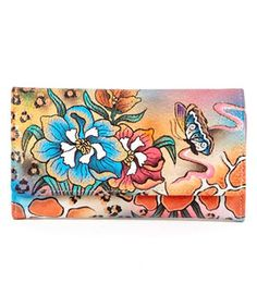 Loving this Yellow Hand-Painted Floral Leather Wallet on #zulily! #zulilyfinds