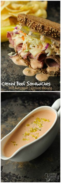 Corned Beef Sandwiches are a tasty Irish sandwich with Russian Dressing. Perfect for leftover corned beef if you are making some up for St. Corned Beef Sandwich, Corned Beef Recipes, Paninis, Quesadillas, Burritos, Yummy Drinks, Yummy Food, Quick Lunch Recipes, Russian Dressing