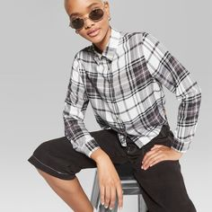 b43db11e Women's Long Sleeve Button Front Cropped Plaid Top - Wild Fable Cream  (Ivory)/Black S