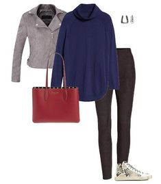 Oversize turtleneck sweater with leggings | 40plusstyle.com Animal Print Vests, Animal Print Dresses, Turtleneck Outfit, Black Turtleneck, Kate Spade New York, Monochrome Outfit, How To Wear Leggings, Polo Neck, Blazer