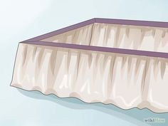 How to Make a Bed Skirt. A bed skirt, also called a dust ruffle, is a traditional bed dressing that covers the box spring and extends nearly to the floor. Bed skirts come in a variety of styles and can be bought or made. Bed Valance, No Sew Curtains, Ruffle Bed Skirts, Ruffle Bedding, How To Dress A Bed, How To Make Bed, Cama Box King, Bed Wrap, King Size Bed Skirt
