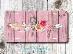 Floral Tribal Arrow - Boho Chic - Pink Weathered Wood - Vintage - Tribal Arrow - License Plate - Aluminum - Car Tag by AquaMagnolia on Etsy