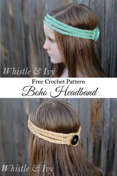 Free Crochet Pattern - This stretchy boho headband works up quick and is a…