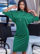 Платье-футляр теплое с рукавами летучая мышь