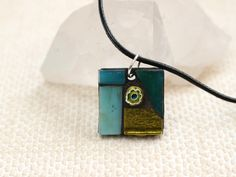 Yellow and Teal Pendant, Mosaic Pendant on Cord, Corded Pendant, Mosaic Jewellery, Teal Jewellery, Casual Jewellery, Gift for Girlfriend by TerryChanceMosaics on Etsy