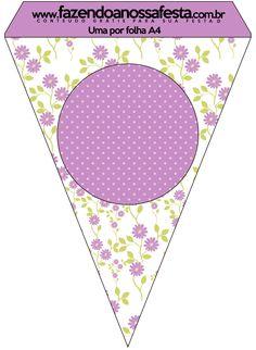 Bandeirinha Varalzinho Floral Lilás: