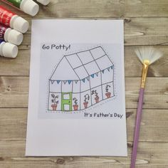 Go Potty It's Father's Day Greetings Card. Perfect for gardening fathers, dads with greenhouses and green thumbs. Illustrated art for dads.