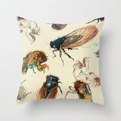 summer cicadas Throw Pillow by Teagan White - $20.00