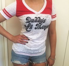 Harley Quinn T-shirt Suicide Squad shirt Daddy's Lil Monster Top Cosplay Costume Ladies Short Top Tee Shirt For Adult Women Harley Quinn Halloween Costume, Harley Quinn Cosplay, Halloween Costumes, Top Cosplay, Cosplay Costume, Daddys Lil Monster, Short Tops, Casual Fall, Casual Tops