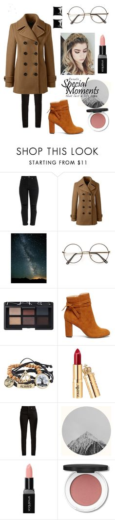 """Cold Night Out!!"" by ayeshaghori ❤ liked on Polyvore featuring Lands' End, ZeroUV, NARS Cosmetics, Sole Society, Warner Bros., Yves Saint Laurent, Smashbox and Witchery"