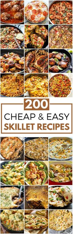 200 Cheap & Easy Skillet Recipes - - These cheap and easy one skillet meals are perfect for busy weeknights. There are easy skillet recipes for chicken, shrimp, ground beef & more. Electric Skillet Recipes, Iron Skillet Recipes, Chicken Skillet Recipes, Cast Iron Recipes, Easy Skillet Dinner, Easy Skillet Meals, Cast Iron Skillet Cooking, Skillet Food, Cheap Dinners