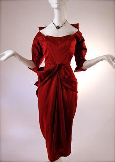An Early Vixen Red Ceil Chapman Evening Cocktail Dress