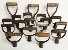 Hmmm, I can think of some very cool way to display AND use these!  Lost Found Art - Old Vintage Shovel Handles